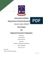Regional Economic Integration - Term Paper