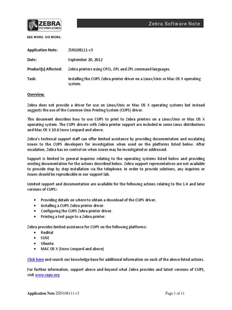 ZEBRA GK420T LINUX pdf | Linux | Mac Os