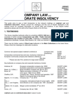 Company Law and Corporate Insolvency Bibliography