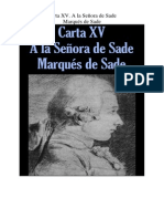 Marques de Sade - Carta 15. a La Señora de Sade