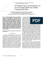 Study the Effect of Variable Vanes on Performance of Axial Compressor for Single Shaft Gas Turbine for Cogeneration Plant