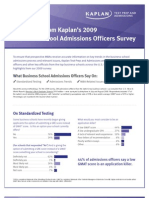 Kaplan Survey of Business School Admissions Officers 2009