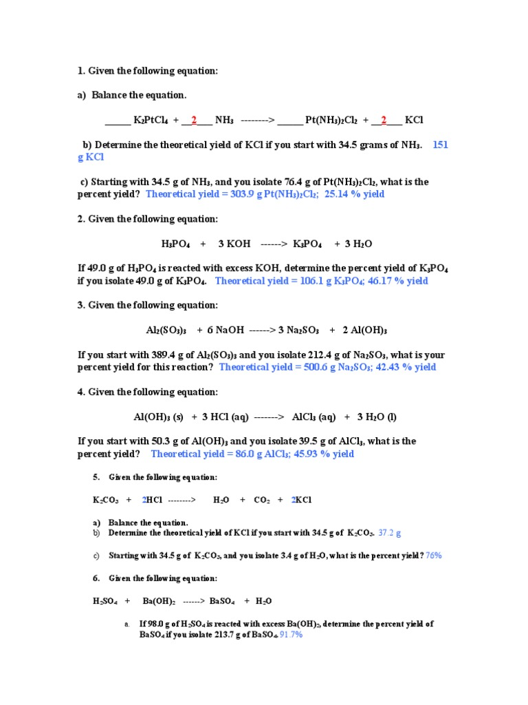 Uncategorized Theoretical And Percent Yield Worksheet worksheet percent yield answers grass fedjp theoretical
