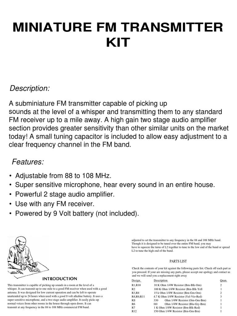 Fm Transmitterpdf Amplifier Electronic Circuits 9v Wireless Microphone Transmitter Circuit Wiring Diagrams