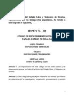 Codigo de Procedimientos Penales Para El Estado de Sinaloa