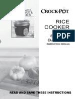 Crockpot Rice Cooker with Steam Basket Instruction Manual CKCPRC4725,  CKCPRC4726 &  CKCPRC4727