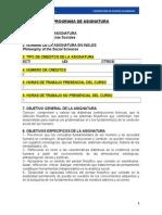 PROGRAMA de ASIGNATURA Filosof a de Las Ciencias Sociales Roberto Campos Garro