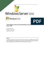 TCP/IP Registry Values for Microsoft Windows Vista and Windows Server