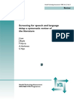 Screening for Speech and Language Delay a Systematic Review of the Literature