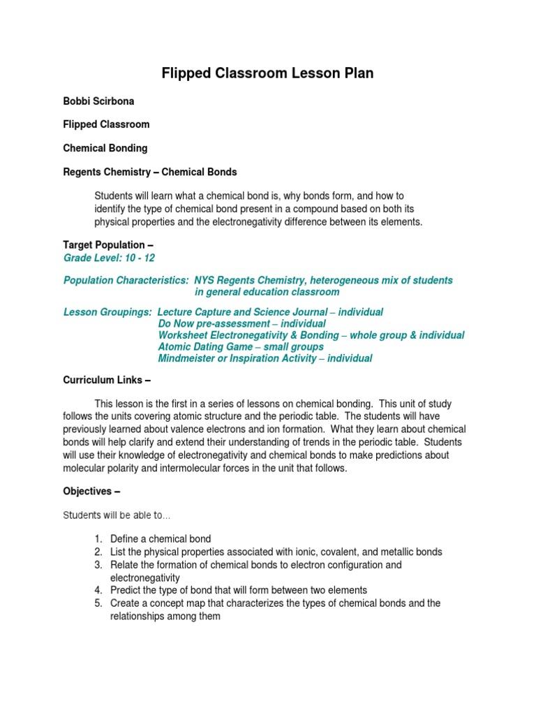 flipped lesson plan chemical bonding Chemical Bond – Chemical Bond Worksheet