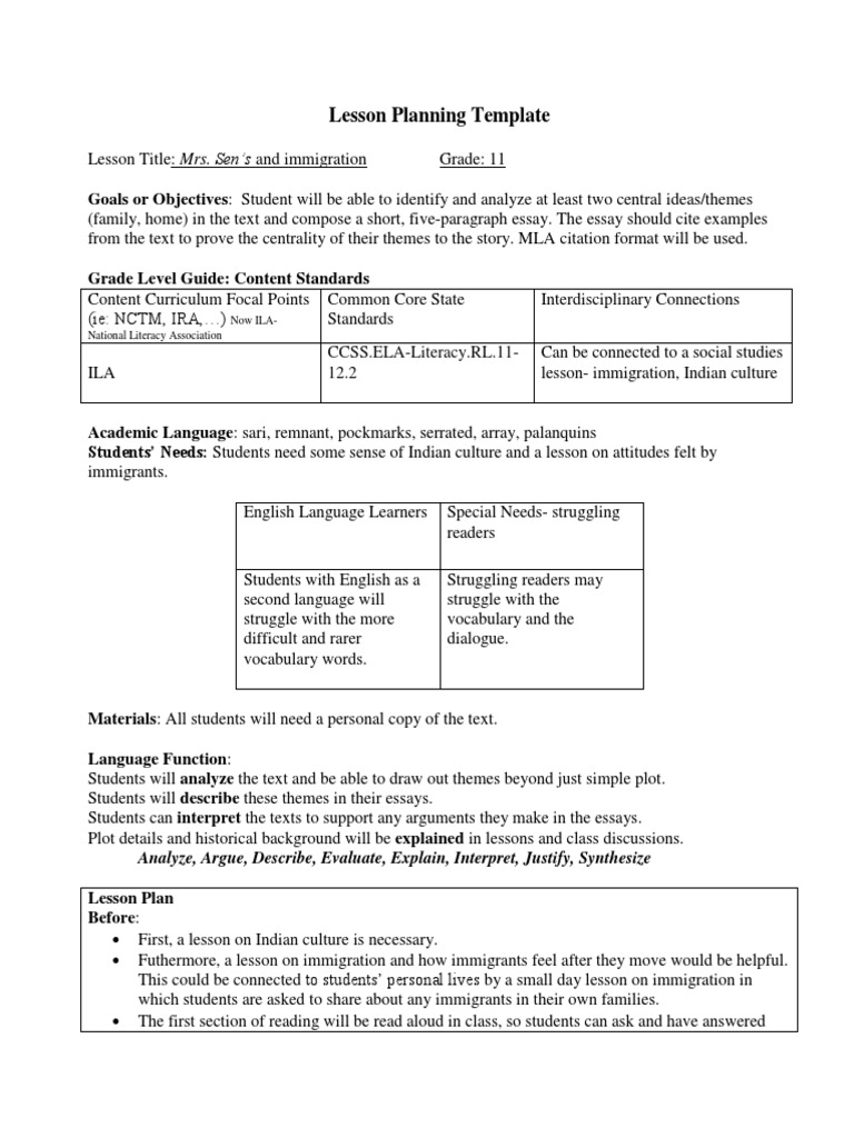 Lesson Planning Template Homework Educational Assessment - Lesson plan template for special needs students