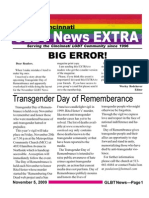 GLBT News EXTRA Nov 5 09 Extra - Transgender Day of Remembrance Service 11/20
