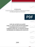 GUIA DE AUTOEVALUACIÓN PARA LA APLICACIÓN DE ESTANDARES, CRITERIOS DE EVALUACIÓN Y ACREDITACIÓN EN IFD