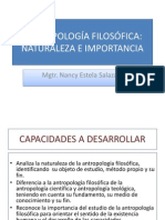Diapositivas. Antropologia Filosofica. Naturaleza e Importancia
