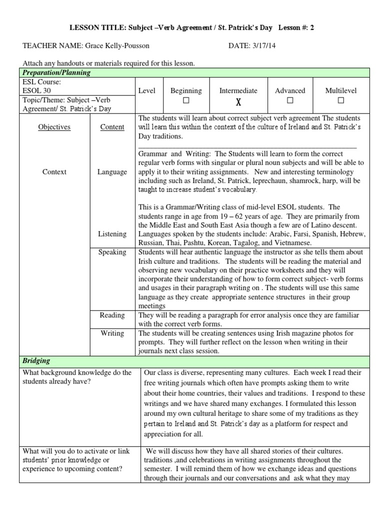 Subject Verb Agreement Irish Lesson Plan Educational Assessment
