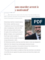 Gerry Adams Murder Arrest is 'Politically Motivated'