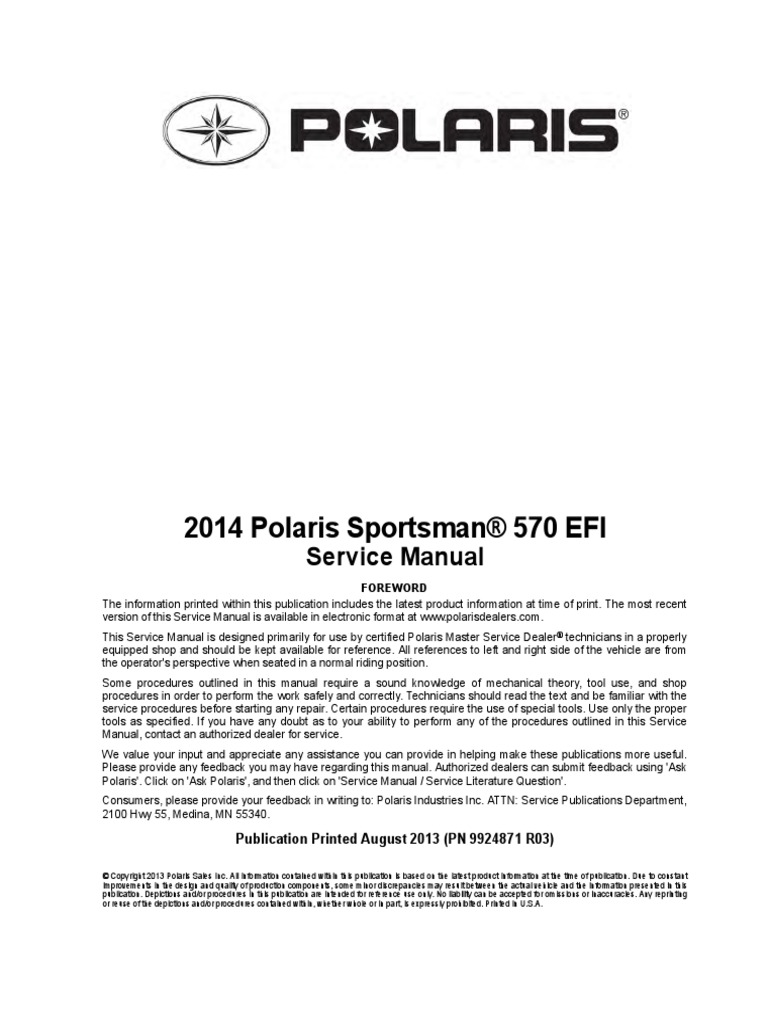 polaris 570 sportsman service manual fuel injection transmission rh scribd com 2014 polaris sportsman 570 service manual 2015 polaris ranger 570 owners manual