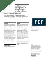Autodeterminacion de Las Personas Con Discapacidad Intelectual Como Objetivo Educativo y Derecho Basico