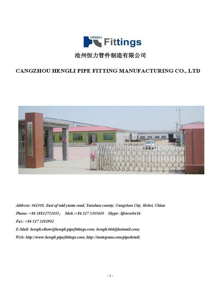 Cangzhou Hengli Pipe Fitting Manufacturing Co , Ltd