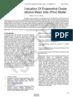 Performance Evaluation of Evaporative Cooler Using the Predictive Mean Vote Pmv Model