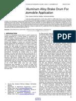 Evaluation of Aluminum Alloy Brake Drum for Automobile Application