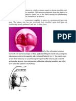 The peritonsillar abscess is a fairly common sequel to chronic tonsillitis and.docx