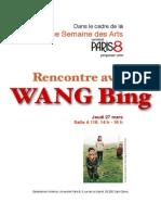 Wang Bing Paris 8 2014 Programme