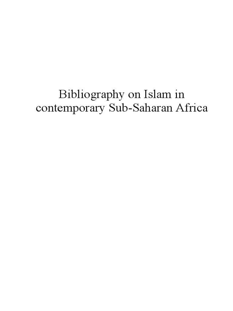 Bibliography of Resources on Islam | East Africa | Africa