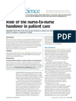 Role of the Nurse to Nurse Handover in Patient Care