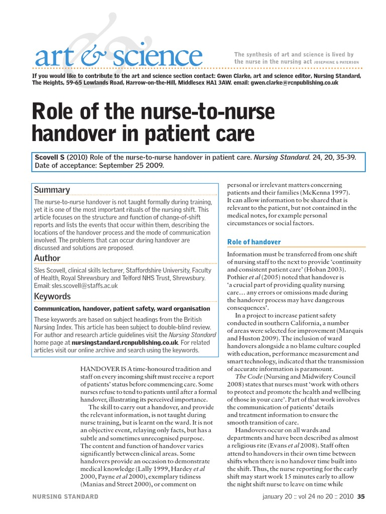 Role Of The Nurse To Nurse Handover In Patient Care Patient Safety