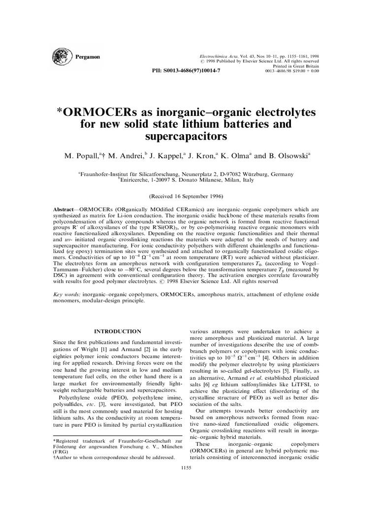 ORMOCERs as inorganic±organic electrolytes   Polymers