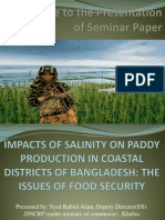 Welcome to the Presentation of Seminar PaperIMPACTS OF SALINITY ON PADDY PRODUCTION IN COASTAL DISTRICTS OF BANGLADESH