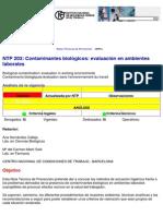 Ntp 203 Contaminantes Biologicos Evaluacion Ambientes Laborales