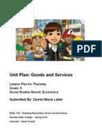 EDEL453 Spring2014 Daniel-marieLEBEL Unit Plan Thursday