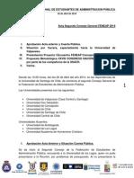 Acta Plenaria Consejo General de FENEAP Chile Sábado 26 de Abril, USACH.