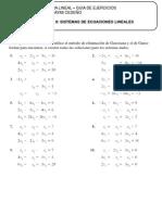 Guia de Ejercicios. Algebra Lineal. Sistemas de Ecuaciones Lineales
