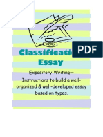 Classification Essay Instruction With Pre Writing Activities