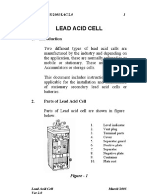 Handbook on Lead Acid Cell for Railway signaling | Battery