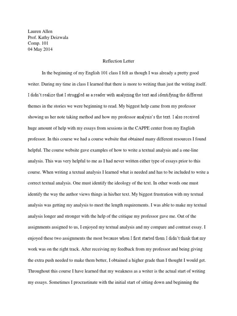 lauren reflection letter essays cognition