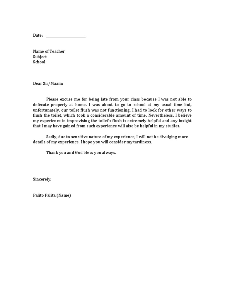 Excuse Letter Student Tardiness – Apology Letter for Being Late