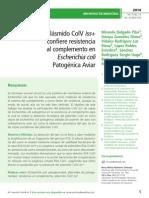 El plásmido ColV iss + confiere resistencia al complemento en Escherichia coli  Patogénica Aviar