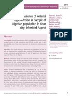 The Prevalence of Arterial Hypertension in Sample of Algerian population in Oran city