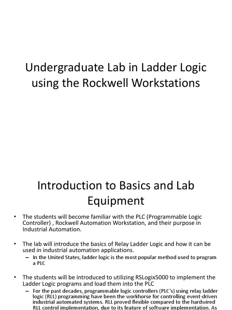 Undergraduate Lab In Ladder Logic Using The Rockwell For Display Twido Plc Wiring Diagram Programmable Controller Automation