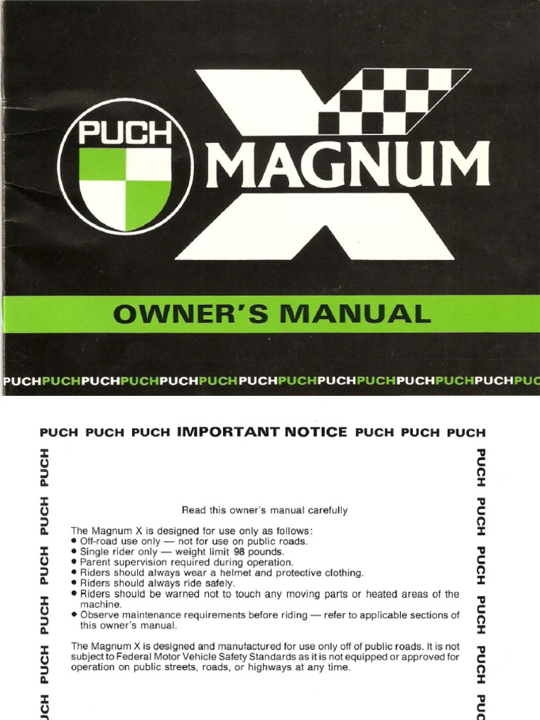 Puch Magnum X Owners Manual | Carburetor | Throttle