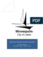 Minneapolis Office of Police Conduct Review  First Year Report Oct 1, 2012 - July 31, 2013