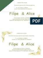 Convite Filipe e Alice