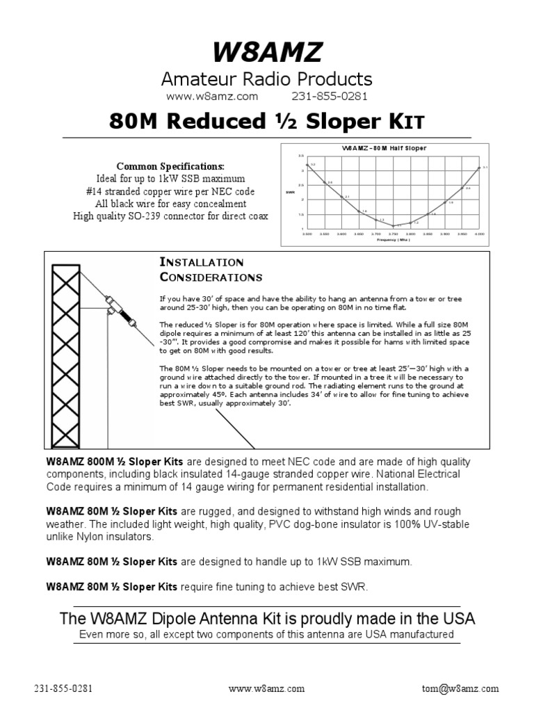 80m Half-Sloper - Manual | Antenna (Radio) | Coaxial Cable