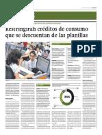 Restringirán Créditos de Consumo Que Se Descuentan de Las Planillas_Gestión 5-05-2014