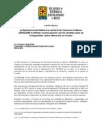 CARTA PÚBLICA / La Red Nacional de Defensoras de Derechos Humanos en México (RNDDDHM) manifiesta su preocupación  por los recientes actos de hostigamiento contra defensoras en Yucatán