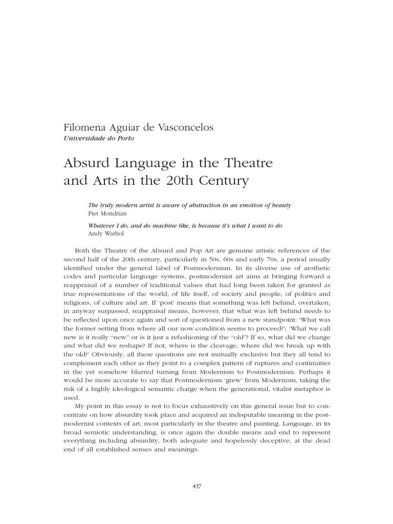 Absurd Theatre Modernism Postmodernism